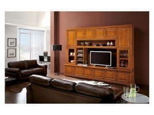 Art.112, Bücherregal aus Massivholz mit TV-Ständer, Luxus im klassischen Stil