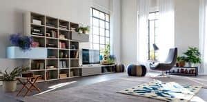 Citylife 37, Moderne Zusammensetzung für Wohnräume, mit Türen und Klappen