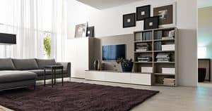 Citylife 41, Systemmöbel für Wohnzimmer mit TV-Ständer
