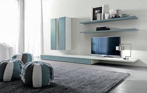 Citylife 44, Modulares System für Wohnzimmer, mit Regalen und Schränken