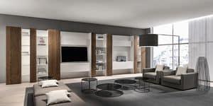 CODE comp.05, Moderne Bibliothek für Wohnzimmer, mit Handy-TV und Regale