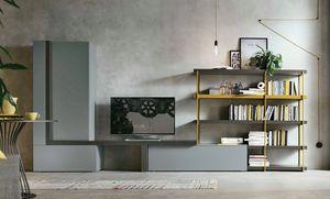 Comp. A080, Wohnzimmermöbel mit Bücherregal