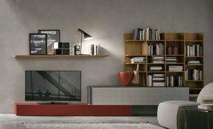 Comp.e A114, Wohnzimmermöbel mit hölzernem Bücherregal