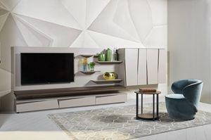 DAY comp.03, Ausgestattetes Wandsystem für Wohnzimmer