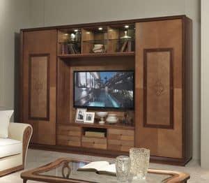 LB38 Charme Bücherregal, TV-Schrank mit Bücherregal, klassisch modernen Stil