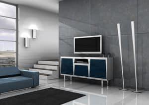 Line, Lackierte TV-Ständer, Türen mit Push-Pull-Eröffnung