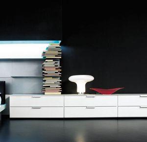 PRISMA comp.03, Niedriger Schrank mit 4 Schubladen mit Rädern, für Zuhause