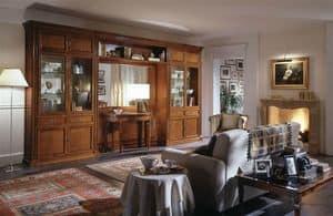 R 03, Klassische Möbel für Wohnzimmer mit Vitrine und Spiegel