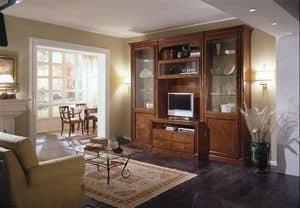 R 04, Modulare Möbel für Wohnzimmer, eingelegte Kirsche