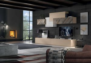 Spazio Contemporaneo SPAZ04, Modulare Holzmöbel für Wohnzimmer