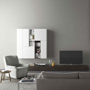 Spazio S310, Wandsystem mit TV-Ständer, mit Beleuchtung