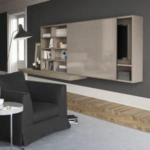 Spazioteca SP015, Modulares System für Wohnzimmer in Holz, mit Hallo-Fi