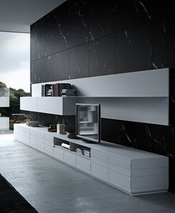 STRIPE Schrank comp.02, Wohnzimmermöbel mit Aluminiumregalen