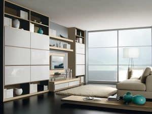 Wand Tag 01, Modulares System für Wohnzimmer und Büro, mit Bibliothek