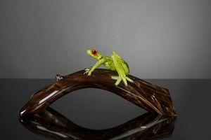 Branch with Frog, Dekorative Glasskulptur