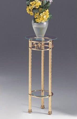 VIVALDI 1094, Messing Säule mit Glasplatte, für zu Hause