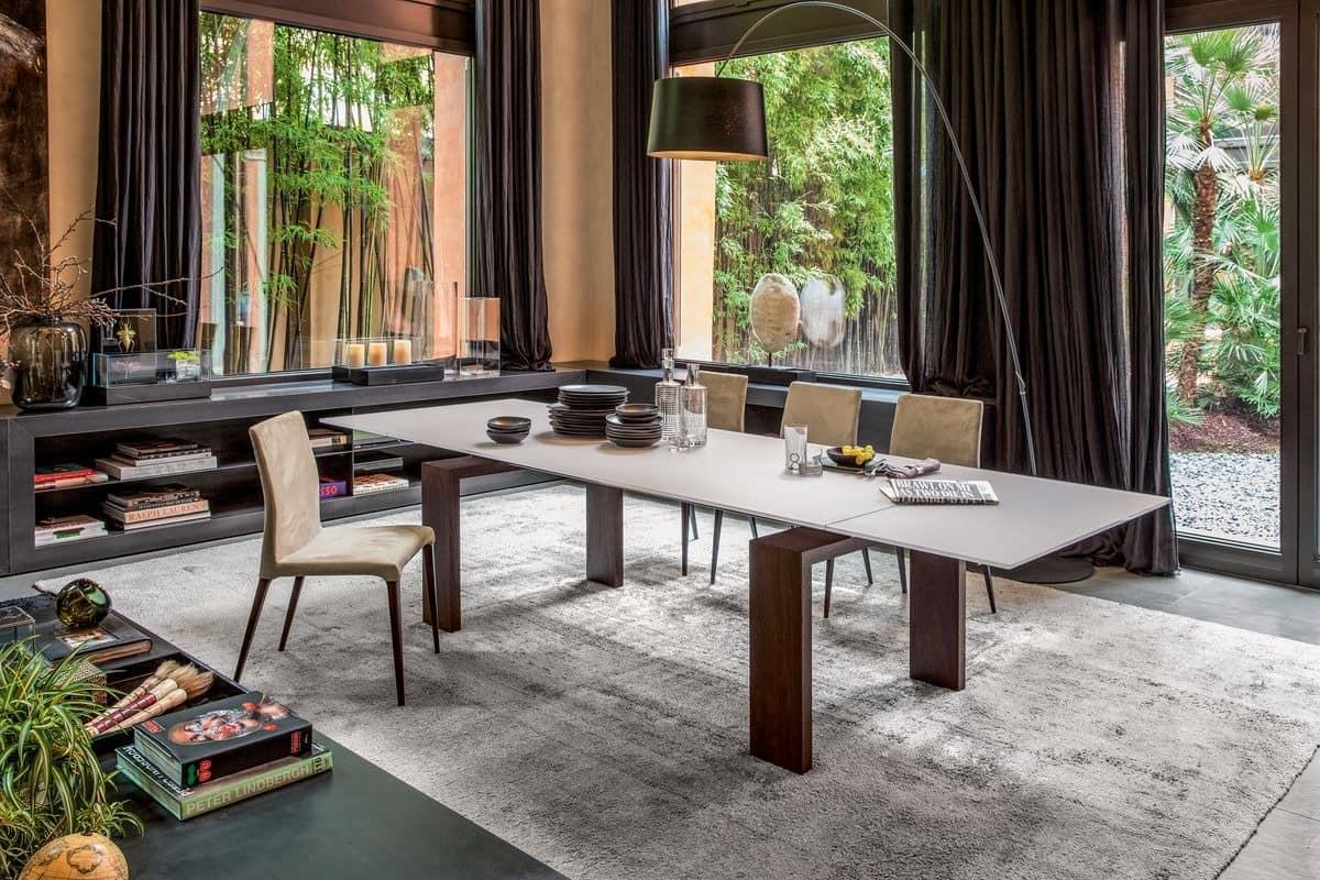 BROOKLYN, Ausziehbarer oder fester Tisch mit Glas- oder Keramikplatte