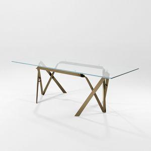 Compasso, Moderne Tisch mit Glasplatte und Eisen Blattstruktur