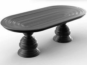 Frames Art. T01, Tisch mit ovaler Kristallplatte