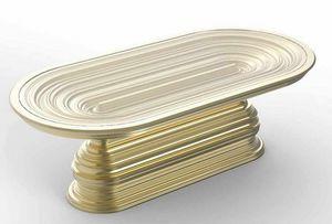 Frames Art. T07, Ovaler Tisch mit goldener dekorativer Basis