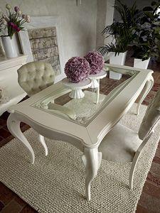 Giulietta Tisch, Esstisch aus weißem Holz, mit Glasplatte