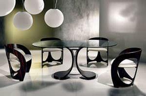 TA43 Mistral Tisch, Esstisch mit Glasplatte, Chrommetallbasis