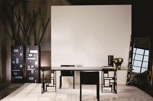 Velasca rechteckig, Moderne Metall Tisch, mit Glasplatte, ideal f�r Esszimmer