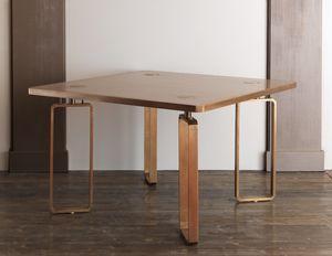 DOMINO HF2076TA, Esstisch aus Holz mit Messingverzierungen