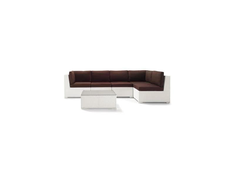 Set Giove, Sofa und Couchtisch in natürlichen oder synthetischen Korb