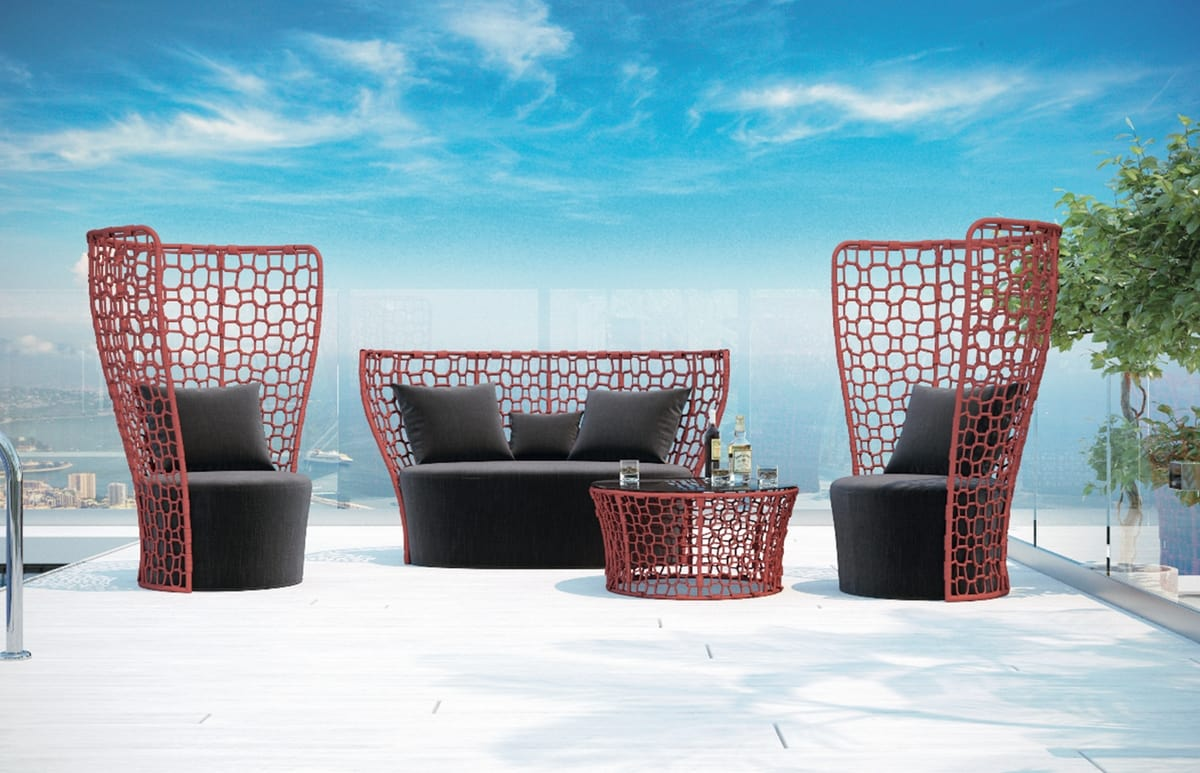 SET QUEEN, Gartenset mit Sofa, Sessel und Beistelltisch