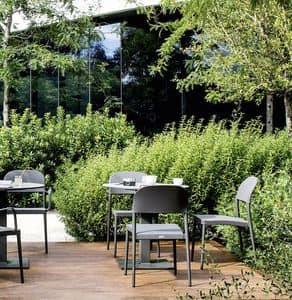 Saia Stuhl, Stapelbare Gartenstuhl, Aluminium und Stoff Textur