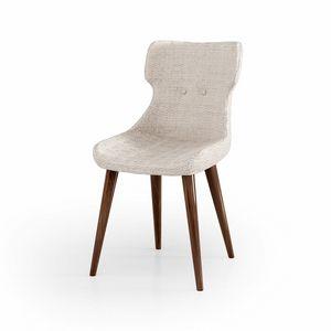 ART. 3427, Gepolsterter Stuhl, Beine aus Walnuss