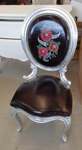 Art. 77, Gepolsterter Stuhl mit Leder mit Tätowierungsdruck