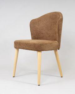 BS478S - Stuhl, Stuhl aus Buchenholz mit gepolsterter Sitzfläche