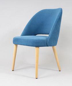 BS491A - Stuhl, Gepolsterter Stuhl mit Beinen aus Buche