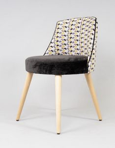 BS527S - Stuhl, Gepolsterter Stuhl mit Beinen aus Buche
