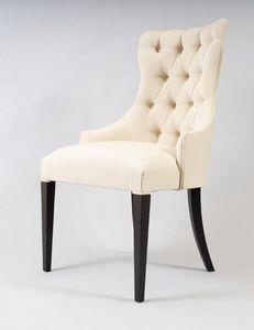 BS530A - Stuhl, Stuhl mit Capitonné-Rückenlehne
