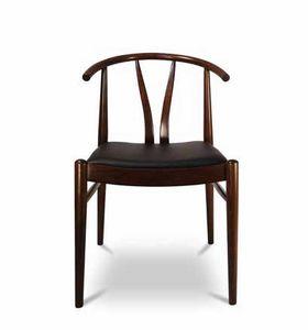 DUBLINO, Holzstuhl mit gepolstertem Sitz