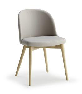 Emma, Holzstuhl mit gepolsterter Sitzfläche und Rückenlehne