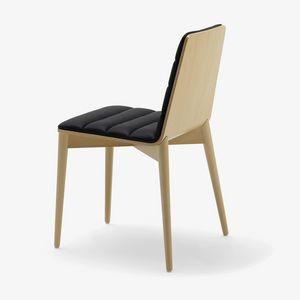 Greta, Moderner Stuhl aus Holz, gepolstert