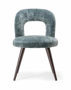 HOLLY SIDE CHAIR 065 S, Stuhl mit Massivholzbeinen und gepolstertem Sitz