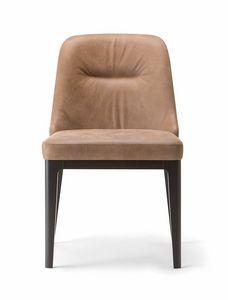 LOTUS SIDE CHAIR 063 S, Gepolsterter Stuhl mit Holzbeinen