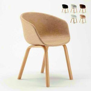 Sedia In Metallo Legno Tessuto Per Cucina Bar Scandinavo KOMODA, Gepolsterter gepolsterter Stuhl
