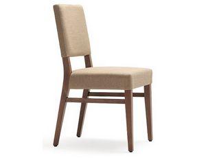 Selene-S1, Stuhl mit Holzstruktur, gepolstert