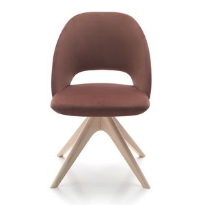 Vivian chair, Gepolsterter Stuhl mit Holzfuß