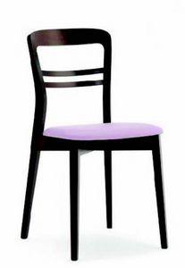 3040 Minerva, Holzstuhl mit gepolsterter Sitzfläche