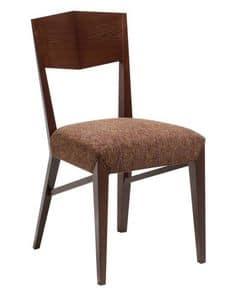 C31, Holzstuhl mit gepolstertem Sitz, in Stoff bezogen, für den Objektbereich