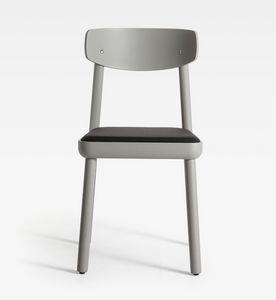 Isa, Moderner Holzstuhl, gepolsterter Sitz