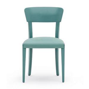 Steffy 00411, Stuhl aus Massivholz, gepolsterter Sitz, moderner Stil