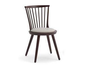 Isolda-S, Holzstuhl mit rundem gepolsterten Sitz